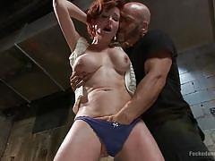 milf, bdsm, blowjob, big boobs, choking, pussy rubbing, brown hair, dungeon sex, kink, derrick pierce, veronica avluv