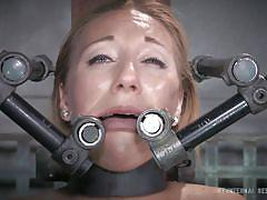 milf, blonde, bdsm, pantyhose, closeup, pussy gaping, chains, restraints, infernal restraints, emma haize