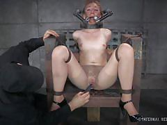 milf, blonde, bdsm, pantyhose, closeup, pussy gaping, chains, restraints, infernal restraints, emma haize