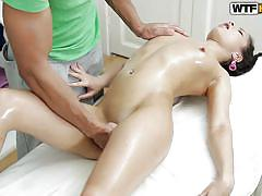 Young lady enjoying an erotic massage