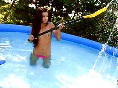 Teen cutie likes to get wet