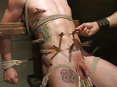 tattoo, bdsm, gays, tied up, basement, clothespins, balls torture, 30 minutes of torment, kink men, reed jameson