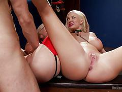 Bounded blondes fucked on the table