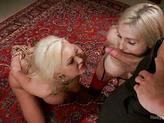 milf, threesome, bdsm, big tits, stockings, blowjob, table, collar, blondes, on leash, the upper floor, kink, christie stevens, erik everhard, summer brielle