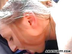 Amateur girlfriend blowjob in a car with cum in mouth
