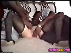 Cuckold milf and her 2 bbc bulls sissy humiliated by them