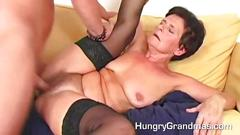 Lady in stockings riding a long one