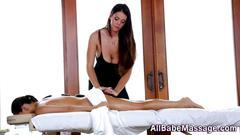 Babe gets a massage and she is enjoying the flirting