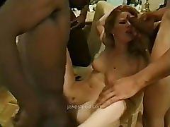 Interracial gangbang - blacks on blonde