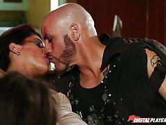 threesome, babe, latina, blowjob, kissing, brunette, undressing, riding cock, pussy eating, brutal guy, digital playground, derrick pierce, lola foxx, mischa brooks