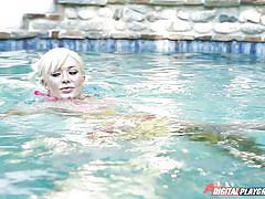 tattoo, blonde, massage, big tits, babe, outdoor, bikini, oiled, perfect body, piscine, digital playground