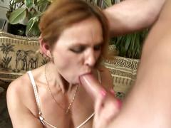 Nasty busty mature mom fucks not her son