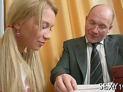 Bald teacher bangs an air headed blonde teen during private lesson