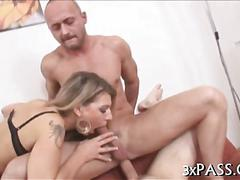 Frisky slut gets busy anal fucking with two bisex guys