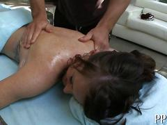 Massage turns into mangling pussy fucking for big tits brunette slut