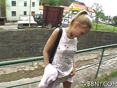 Frisky hot blonde from europe has fun with public porn agent