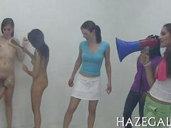 Teen college girls hazed in gym showers by washing each other