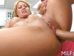 Blonde milf gets fucked in a strangers office for cash