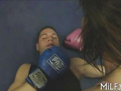 Boxer gets knockout by big tits babe for cowgirl cock ride