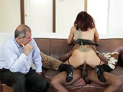 Naughty ryder skye fucking black cock in front of her man