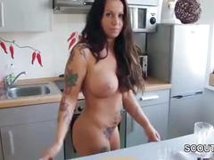 Step-son caught mother naked in kitchen and seduce fuck