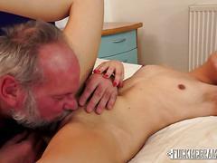 Brunette sucks grandpa cock