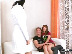Tall guy helps devirginize a cute and a little cared teen schoolgirl