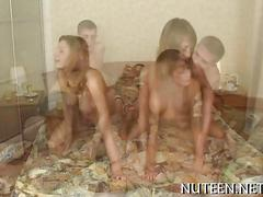 Teen girls talked into foursome fucking and filming it all