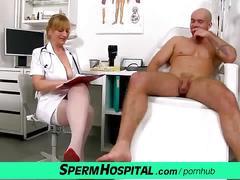 A boy receives oily wankjob from horny milf doctor gabina