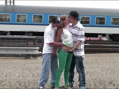 Young teen girl alexis crystal public sex threesome orgy at railway station