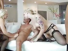 Lucky guy fucks sexy sluts in orgy