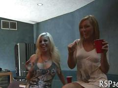 Blonde babes in tight outfits dancing and getting fucked in an orgy