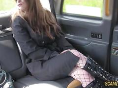 blowjob, hardcore, public, fucking, sucking, car, fishnet, stockings, taxi