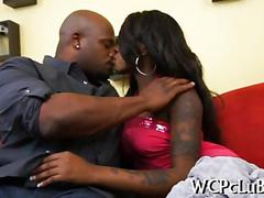 Black babe has a black hunk to fuck with hard