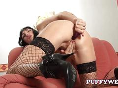 Cleopatra brunette in stockings toys her ass while spreading legs