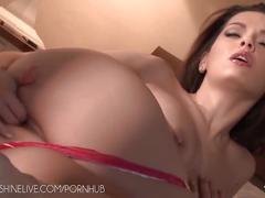 Brunette pornstar eve angel erotic masturbation