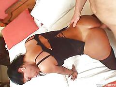Brunette ladyboy with big tits gets her ass fucked @ my dad's a transsexual #07