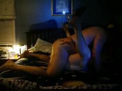 Sexy real amateur couple start missionary and end with a riding orgasm creampie