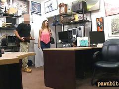 Big tits slut with glasses sells her stuff and banged