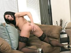 Mandy m masturbating wearing black thigh highs