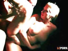 Hung guy fucks a busty blonde hottie and hot ass brunette