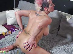 anal, mature, solo, masturbation, busty, pervert, big dildo, pink hair, tatto, old nanny, old nanny, sandra xxxxxx