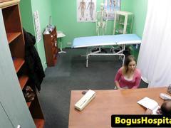 Busty euro patient cocksucks bogus doctor