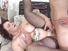 Busty mother suck and fuck young lucky son