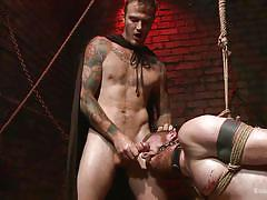Hot, restrained and sweaty sex slaves