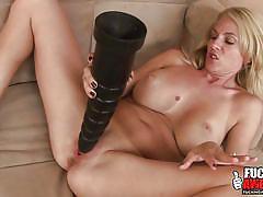 milf, blonde, solo, masturbation, big boobs, huge dildo, tattooed, seducing, will she explode, fucking awesome, angela attison