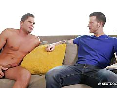 gay blowjob, naked gay, big cock, on couch, big balls, squeezing balls, next door buddies, next door world, luke milan, quentin gainz