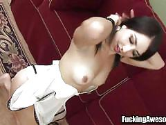 Skinny babe shoves a huge dildo up her pussy