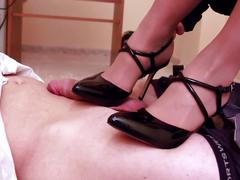Office high heels shoejob footjob