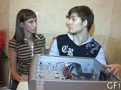 Nerdy russian boyfriend fixing computer while being a cuckold